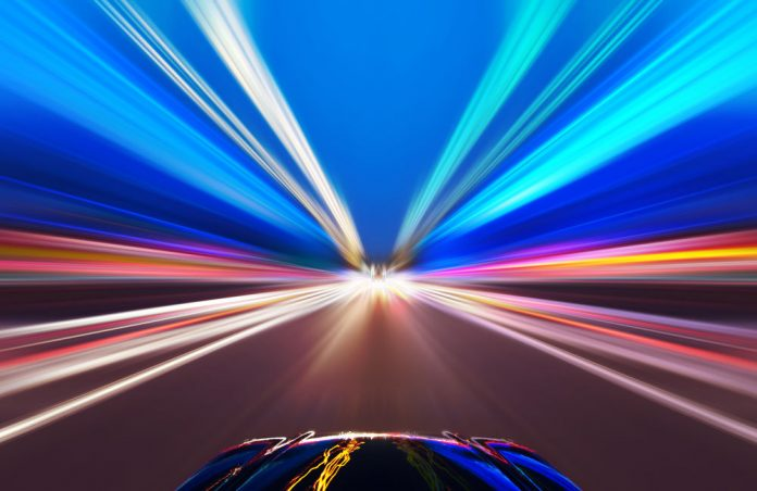 Car on Road with Motion Graphic