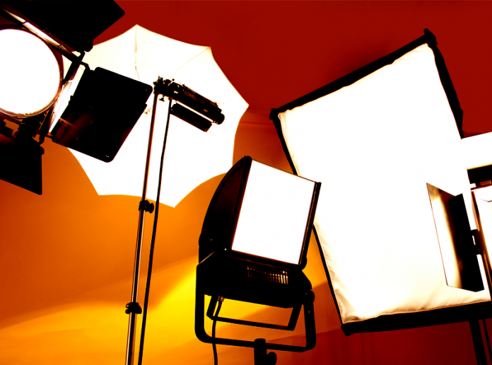 Collection of studio lights and soft boxes.