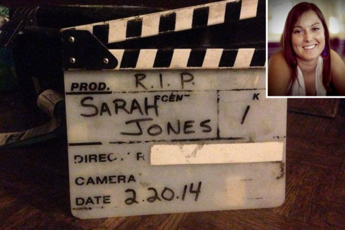 """photo of """"Slates for Sarah"""" with inset image of Sarah Jones, the camera assistant killed by a train on the set of Midnight Rider"""