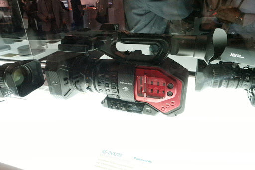 pro camcorder with red in a display case