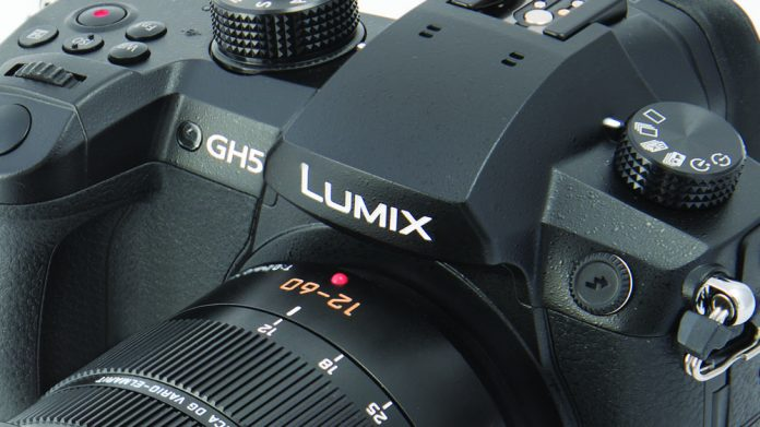 Close up of the GH5 showing the LUMIX GH5 branding