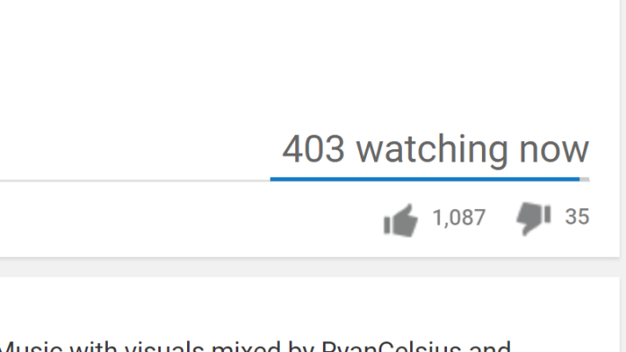 screen shot from YouTube showing the watching now count