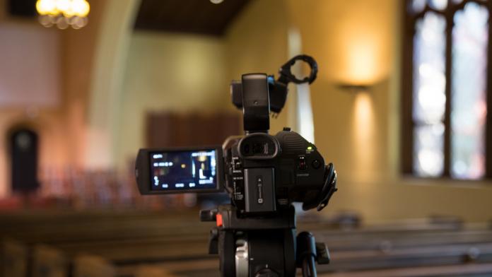 video camera inside a church sanctuary