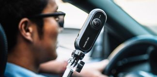 Insta360 ONE filming a man driving