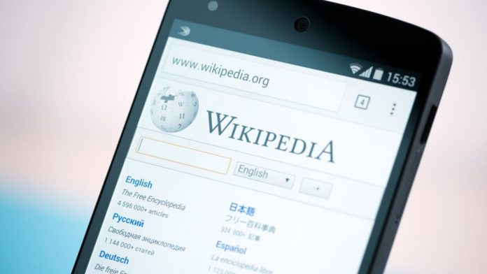 Phone displaying Wikipedia