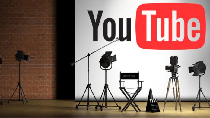 YouTube logo behind a studio set