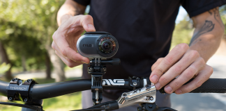The Rylo mounted on a bike
